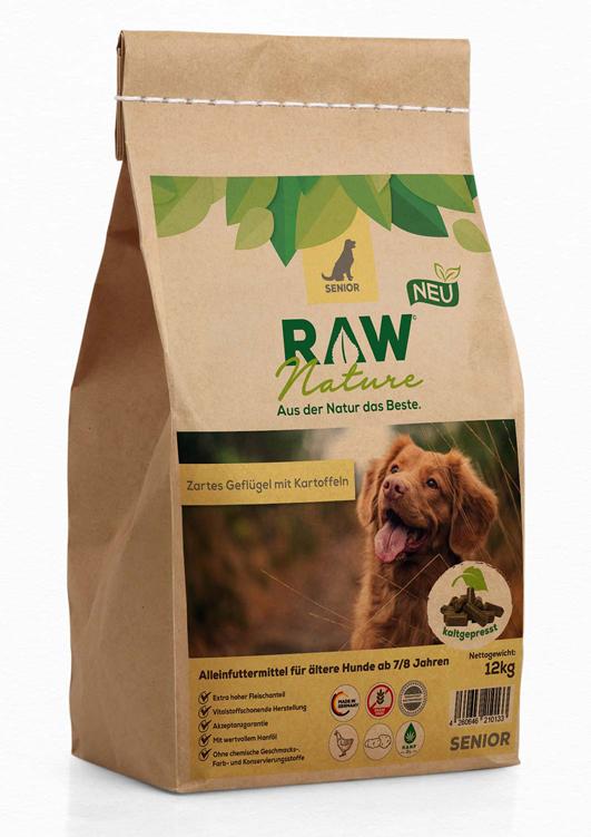Kaltgepresstes Hundefutter mit Geflügel und Kartoffeln für Hunde ab 7 Jahren